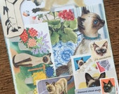 Siamese Cats and Kittens Vintage Collage, Scrapbook and Planner Kit Number 2058