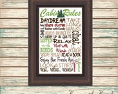 Cabin Rules Digital Print Typography Personalized