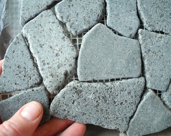 REAL Miniature Garden Stone Sheet, Rustic Gray Speckled, Rounded Stones on Sheet, for Patio Pathway Fairy Terrarium or Mosaic Crafting Gray