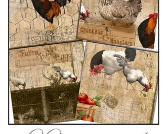 Instant Download -  Chicken and Rooster Coaster Images  -  Collage Sheet - Printable Download - Gift Tags - Scrapbook