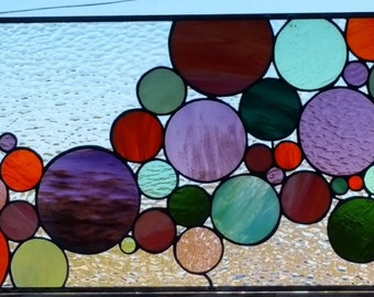 """Stained Glass Window - """"Lively bubbles"""" (W-86)"""