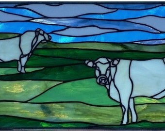 "Stained glass Transom - ""Charolais in the ranch"" (W-102)"