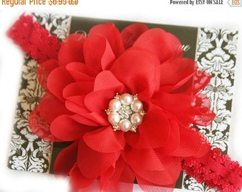 SALE Baby Girl Headbands - Baby Red Headbands- Extra Large Red Flower Headband - Toddler Headbands - Baby Bow Headband