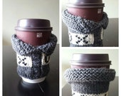 Ready to Ship Knit Coffee Sweater, Coffee Sleeve, Travel Cup Sleeve, Coffee Sleeve, Coffee Cup Sleeve, Hugs & Kisses