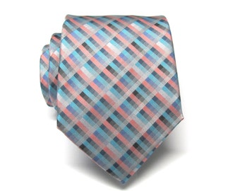 Mens Tie Silver Coral Blue Teal Stripes Necktie With Matching Pocket Square Option