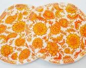 Reusable Nursing Pads, Organic Cotton Flannel - Vintage Paisley Orange