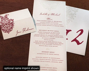Isabella Menu, Table Marker & Place Card Set