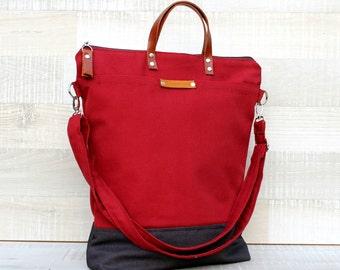 Comfort Unisex Tote, canvas tote bag, burgundy dark grey tote, men tote bag, women tote bag, Christmas gift, Messenger Bag, Zip Tote Bag
