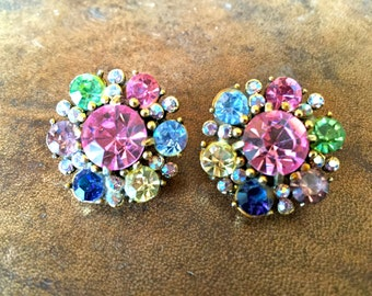 Vintage Holly Craft Multi-Color Pastel Rhinestone Clip On Earrings