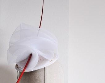 White Crin Cocktail Hat Racing Mini Hat Wedding Fascinator