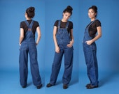 OVERALLS 90s ESPRIT denim jean overall vintage Women Small fit blue pants / better Stay together