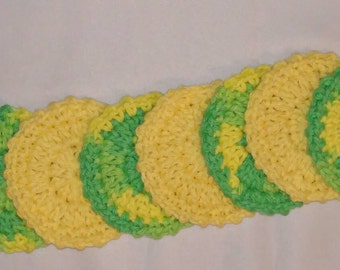 Cotton Facial Scrubbies (set of 8) in Yellow and Green and Yellow