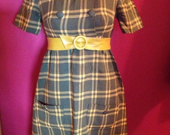 Vintage 1960s Mod Olive Mustard Plaid Dress XS Small