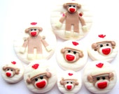 Ready to Ship Vintage Sock Monkey set of 8 buttons