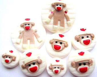 Ready to Ship Vintage Sock Monkey set of 8 buttons