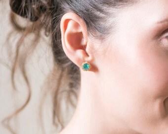 Turquoise earrings,turquoise stud earrings,raw stone earrings,raw gemstone earrings,minimal earrings gold,boho earings,summer jewlery