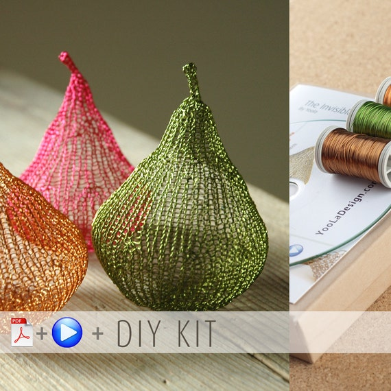 Home Decor Ideas - Craft Kit - Pear DIY Kit - Home gifts DIY - Wire Crochet Kit - Learn crochet with wire - Housewarming gift