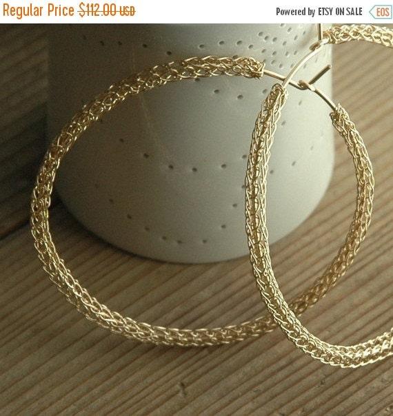 20% OFF - Gold Hoop earrings ,Wire crochet Earrings,  Extra large Gold hoop earrings , unique hoop earrings, Gypsy bohemian fashion