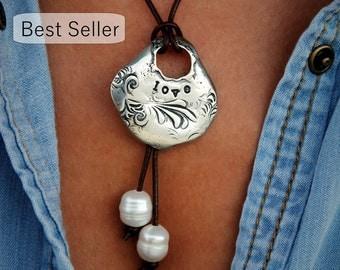 Boho Jewelry Necklace, Boho Necklace, Boho Leather Jewelry, Silver Boho Jewelry, Silver Boho Necklace, Leather Boho Necklace, Gypsy Necklace