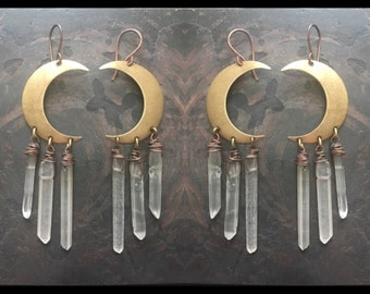 Moon Earrings Wire Wrap Healing Crystal Earrings Dangle Earrings Crescent Moon Daniellerosebean Drop Earrings