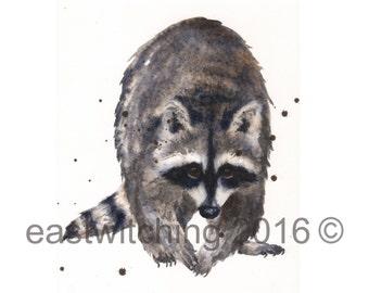Watercolor RACOON painting, kids wall art, animal paintings, wildlife watercolors, cute animals