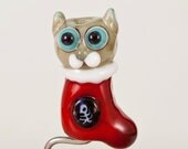 Gray Tabby Cat in a Stocking Lampwork Bead