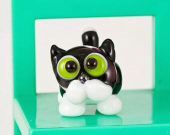 Black White Kitty Cat Lampwork Bead