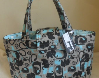 Large Blue and Gray Elephants Giraffes Monkeys and Polka Dots Diaper Bag Tote