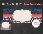 INSTANT DOWNLOAD - DIY Blank Facebook Timeline Cover Set - Premade Facebook Package - Navy and Coral Polka Dots & Flowers