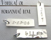 Silver Bar Charm | Custom Name Charm | Personalized Bar Charm | Personalized Custom Charm Hand Stamped Bar | 1 Inch | Pendant E Ria Designs