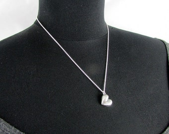 Heart Charm Necklace | Chunky Silver Pendant | Hand Forged .999 Fine Silver | Sterling Silver Chain | E. Ria Designs