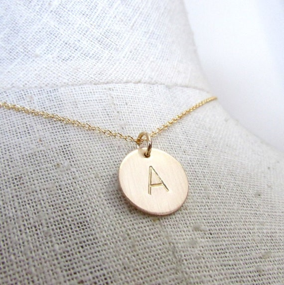 Gold Initial Necklace | Gold Letter Necklace | 14K Gold Filled | Simple Hand Stamped Necklace by E. Ria Designs
