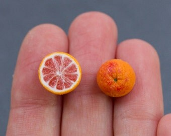Blood Orange Earrings, Miniature Fruit Jewelry