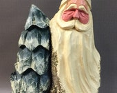 HAND CARVED original large Santa bust with tree from 100 year old Cottonwood Bark.
