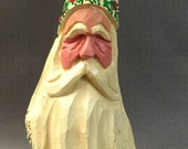 HAND CARVED original Santa  bust from 100 year old Cottonwood Bark.