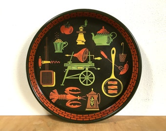 Retro Cookout Metal Serving Tray - 13 Inch With Tall Rim