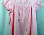 Vintage Toddler Baby Girls Handmade Pink Dress with Embroidery