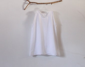 "white linen camisole top bust 46 inch room length 32"" ready to wear"