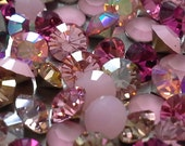 144 pc Mix Pinks Rose and Fuchsia and Alabaster pp31 and pp32 and ss16 Swarovski Rose ab Chaton Mix Pink Sample Lot Crystal Mix Swarovski