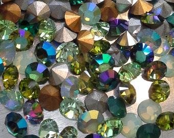 180 pc Mix Emerald Olivine Chrysolite Opal pp31 and pp32 and ss16 Swarovski Greens Chaton Mix Green Sample Lot Crystal Mix Swarovski