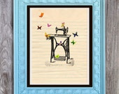 SALE Butterflies and Sewing Machine Art Print Includes 5 backgrounds Instant Digital Download DIY Print yourself