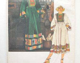 1970s Vogue Sewing Pattern 1563 Bohemian Chic Raised Waist Maxi Dress w/ Kimono Sleeves & Patchwork Appliques Size 12