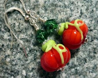 Pumpkin Earrings, Handmade Lampwork, Sterling Silver, Thanksgiving, Fall