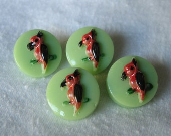 Set of 4 VINTAGE Painted Bird Green Glass BUTTONS