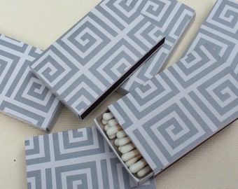 10 Wedding Party Favors Matchboxes Grey Greek