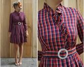 Patriotic Vintage 60's/70's Red White and Blue Plaid Taffeta Ruffled Party Dress by Oscar de la Renta Boutique | Small Medium