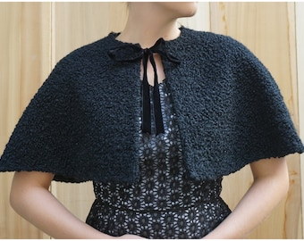 Vintage 50s Black Persian Lambswool Capelet | OS XS Small Medium Large XL