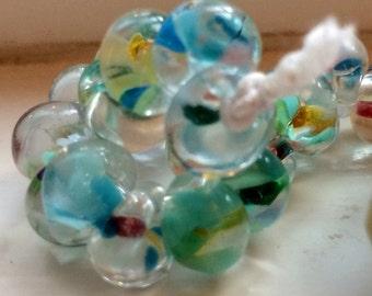 10 Teardrop Handmade Lampwork Beads, Monet 13 mm (22790)
