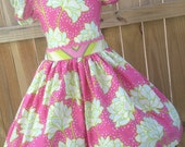 Ready to Ship Custom Pink Pop Garden Easter Spring Girl Dress Will Fit Sizes 4 or 5 or Slim Size 6