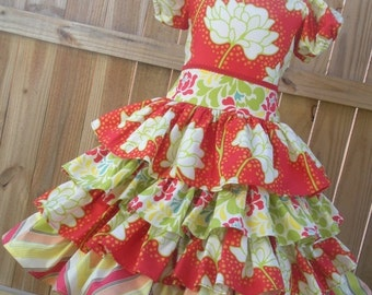 ON SALE Ready to Ship Custom Pop Garden Girl  Spring Flowers Ruffled  Dress Will Fit Sizes 4 or 5 or Slim Size 6